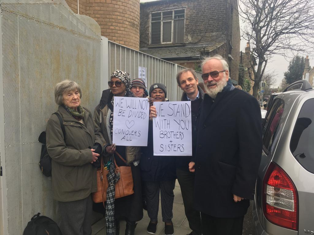 Outside the mosque on Choumert Rd in solidarity with our Muslim brothers and sisters